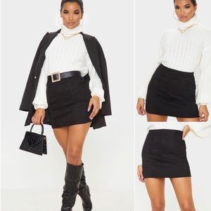 Black Faux Suede Seam Detail Mini Skirt